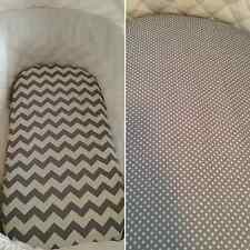 100% cotton Bassinet / Moses / Boori basket fitted sheet in grey, chevron, dots