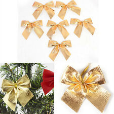 12X Christmas Tree Bow Decoration Baubles XMAS Party Garden Bows Ornament EW