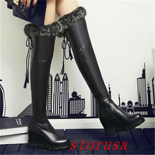 High Wedge Heel Women Fur Lining Over Knee High Boots Shoes Luxury Shoes Size