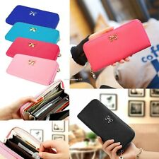 Women Fashion Synthetic Leather Zip Purse Credit Card Holder Long Clutch Wallet