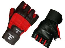 Zimco Weight Lifting Gloves Fitness Mitts Genuine Leather Gloves Black/Red