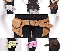 Unisex Suede Leather Waist Pack Bag Party Man Belt Utility Pouch burning rave