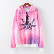 Pink Weed Leaf Graphic Women Hoody Pullover Hoodie Jackets Autunm Winter Jumpers