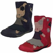 Girls SALE Clarks Nibbles Eva Pre Navy Or Berry Leather Mid Calf Boots