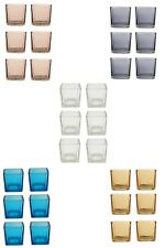 Square Glass Tealight Holders, Coloured Glass Candle Holders, Set of 6