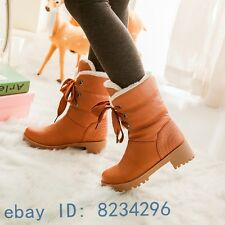 New Casual womens winter warm fashion girls snow boots lace up ankle boots shoes
