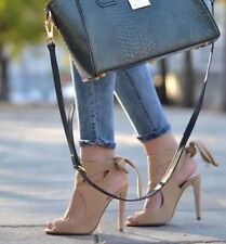 NWT ZARA SAND HIGH HEEL LEATHER SANDALS WITH ROBBON BOW size 6 6.5