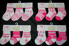 Three pairs Girls Pink  Mummy/Daddy, Hugs, Mum/Dad  Cotton socks 0 - 12m