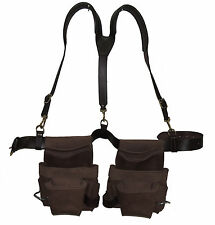 Handcrafted Leather Tool Belt-Pouch with Suspenders