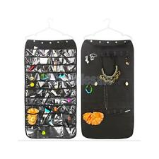 Jewelry Hanging Organizer Display Storage Bag Zippered Pockets Shelf Black/Beige