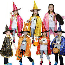 New Halloween Cloak Witch Dress Vampire Witch Hat and Cape Kids Children Cosplay