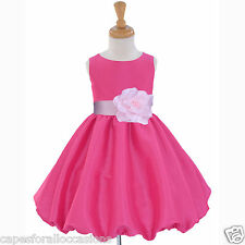 FUCHSIA TAFFETA PAGEANT DRESS TODDLER WEDDING FLOWER GIRL 12-18M 2 3T 4 5 6 8 10