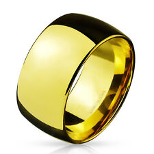 316L Stainless Steel Gold IP 10mm High Polished Wide Wedding Band Ring Size 9-14