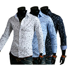 Mens Luxury Long Sleeve Casual Formal Slim Fit Stylish Dress Shirts Cotton Tops