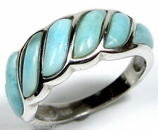 Genuine AAA Dominican Larimar Inlay 925 Sterling Silver Band Ring Sizes 6789