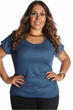 121AVENUE Simple Suede Ruched Side Top 1X Women Plus Size Blue Casual USA