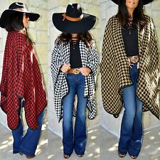 Cozy Boho Black White HOUNDSTOOTH Ruana Wrap Poncho Shawl Camel Red X-Long XL-3X