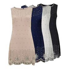 GATSBY FLAPPER 20's BEADED SEQUIN SNOWFLAKE EMBELLISHED PARTY DRESS NEW 8 - 24