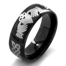 Black-Plated Stainless Steel Men's Claddagh Ring Durable Different Sizes
