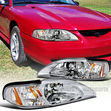 1994-1998 Ford Mustang 1PC Head Lights+Corner Lamps Clear