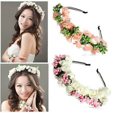 Flower Garland Floral Bride Headband Hairband Wedding Party Prom Hair Accessory