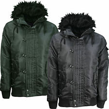 Mens Soulstar Hooded Bomber Jacket Fur Effect Trim Button Up Zip Up Casual