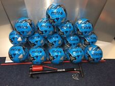 15 x MITRE MISSION FOOTBALLS + MITRE STIRRUP PUMP - CYAN BLUE - SIZES 3 - 4 - 5