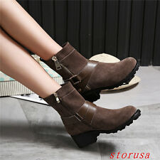Women Lady Cuban Heel Ankle Boots Shoes Buckle Suede Retro Bootie Shoes Size New
