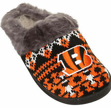 Cincinnati Bengals Woman's Faux Fur Aztec Slide Slippers Shoes Embroidered Logo