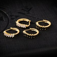 Woman Yellow Gold Filled CZ Black Onyx Hoop Earrings Earings Free Shipping