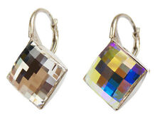 Sterling Silver Earrings made with SWAROVSKI ELEMENTS - 2493 Chessboard