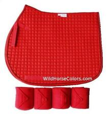 RED English All Purpose A/P or Dressage Saddle Pad & Polo Wraps NEW Horse Gift