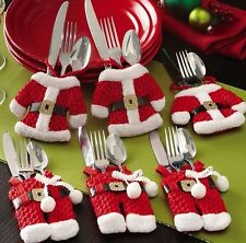 1PC Santa Claus Xmas Holders Pockets Christmas Dinner Table Decor Cutlery Bag