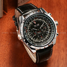 Mechanical Jaragar Analogue Leather Wrist Watch Autometic Luxury Month Day Date