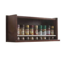 Wooden Spice Rack – Closed – 1 Tier – Metal Bar – 18 Herb and Spice Jars