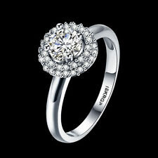 18KGP Silver Curbic Crystal Ring Solitaire Zircon Hot Party Jewelry Size 6 7 8 9