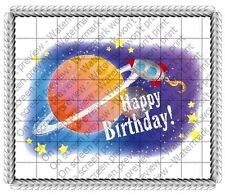 Outer Space Rocket Ship Birthday Edible Cake OR Cupcake Toppers Decoration