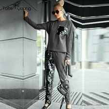 Casual Women Sequins Top Harem Pants Set Long Sleeve Sweatshirt Hoodie Tracksuit