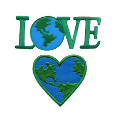 LOVE EARTH HEART EMBROIDERED IRON ON PATCH HEAT SEAL SEW ON APPLIQUE DIY CRAFT