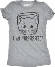 Womens I Am Purrrrfect Funny Adorble Halo Angel Kitten Crazy Cat Person T shirt