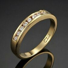 18ct Yellow Gold-Layered Eternity Rings Simulated Diamond
