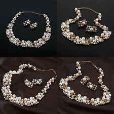 Pearl Gold Plated Simple Elegant Bridal Necklace Earring Jewelry Sets Kit F5