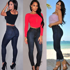 Women's Pencil Stretch Casual Denim Skinny Jeans Pants High Waist Jeans Trousers