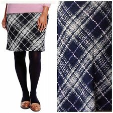 M&S Pull On Check A-Line Wool Skirt Lined Knee Length 7884 Size 8-18-10 BNWT