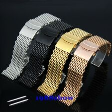New 18 20 22 24 mm Shark Bracelet Double Clasp Watch Mesh Band Replacement Parts