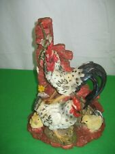 Country Farm Rooster Chicken and Chicks Figurine Resin