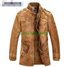 Mens Coat Motorcycle Retro  Jacket Cowboy Jacket Stretch Coat New Outwear New