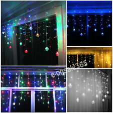 Indoor Outdoor 3M 128 LED Snowflake String Fairy Lights Christmas TV Wall Decor