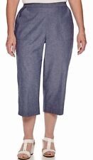 ALFRED DUNNER PULL-ON CAPRIS size 12,14, Mint/White Polyester Capri Pants (#A4)