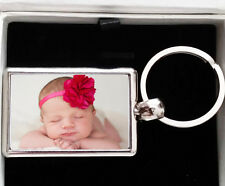 Personalised (Your Photo/Text) LUXURY Metal Keyring + Ivory Gift Box